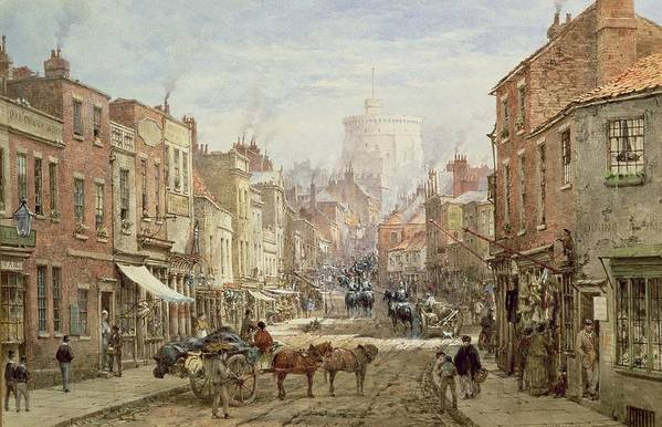 The Household Cavalry In Peascod Street Print featuring the painting The Household Cavalry In Peascod Street Windsor by Louise J Rayner