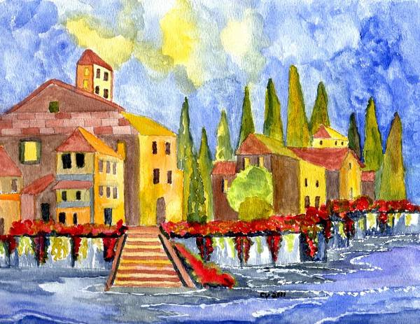 Italy Print featuring the painting The Little Village by Connie Valasco