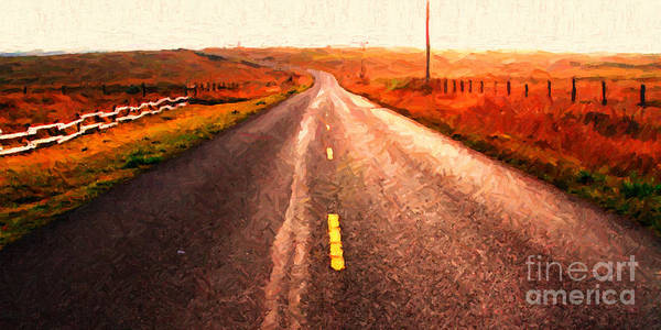 Long Print featuring the photograph The Long Road Home . Painterly Style . Wide Size by Wingsdomain Art and Photography