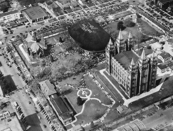 1940s Candid Print featuring the photograph The Mormon Tabernacle, In Salt Lake by Everett