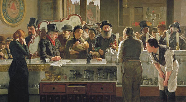 Drinking;drink;social;pub;landlord;barman;barmen Print featuring the painting The Public Bar by John Henry Henshall