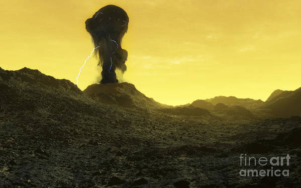 Venus Print featuring the digital art The Surface Of An Infernal Planet by Fahad Sulehria