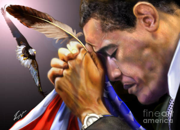 American Flag Print featuring the painting They Shall Mount Up With Wings Like Eagles - President Obama by Reggie Duffie