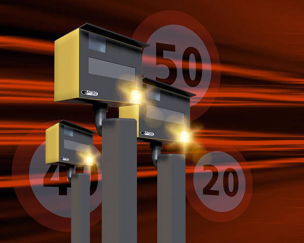 Gatso Print featuring the photograph Traffic Speed Cameras by Victor Habbick Visions