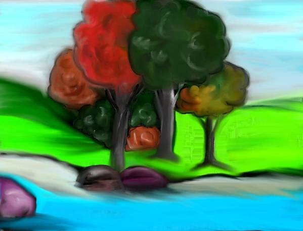 Trees Print featuring the digital art Trees On River by Paula Brown