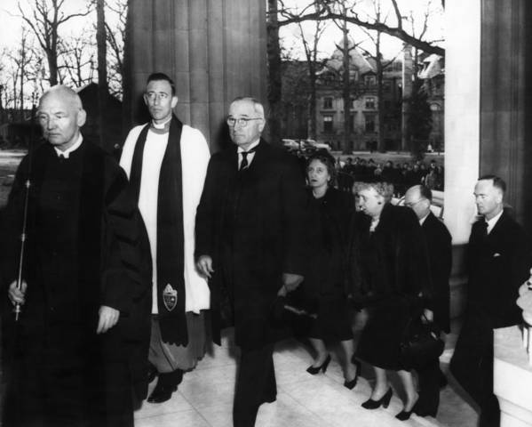 1950s Print featuring the photograph Truman Presidency. From Left Cathedral by Everett