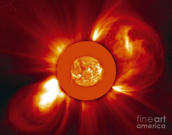 2000 Print featuring the photograph Two Coronal Mass Ejections by Solar & Heliospheric Observatory consortium (ESA & NASA)