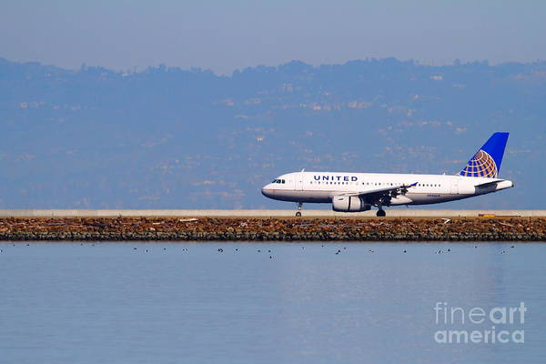 United Print featuring the photograph United Airlines Jet Airplane At San Francisco International Airport Sfo . 7d11998 by Wingsdomain Art and Photography