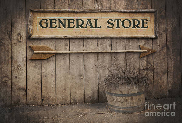 Aged Print featuring the photograph Vintage Sign General Store by Jane Rix
