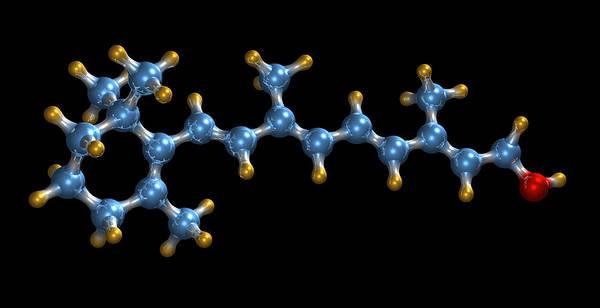 Retinol Print featuring the photograph Vitamin A (retinol) Molecule by Dr Mark J. Winter
