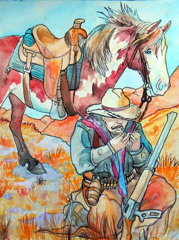 Cowboy Print featuring the painting Waiting For Sunset by Jenn Cunningham