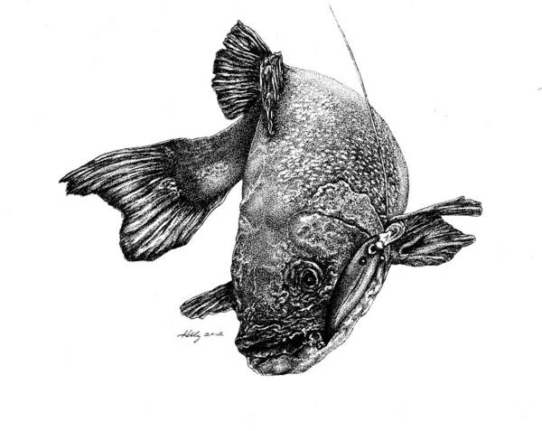 Walleye Print featuring the drawing Walleye by Kathleen Kelly Thompson