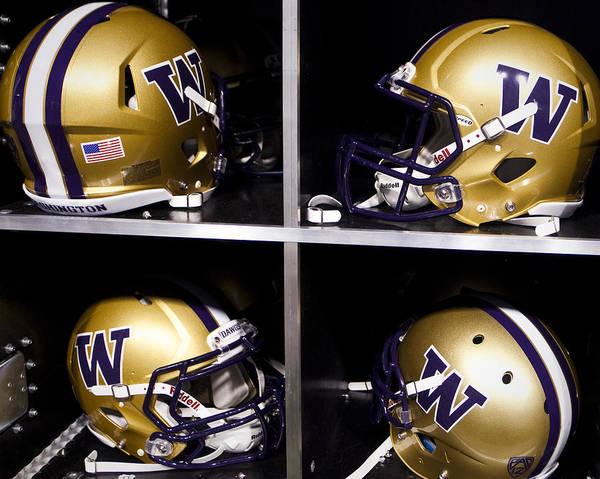 Replay Photos Print featuring the photograph Washington Huskies Football Helmets by Replay Photos