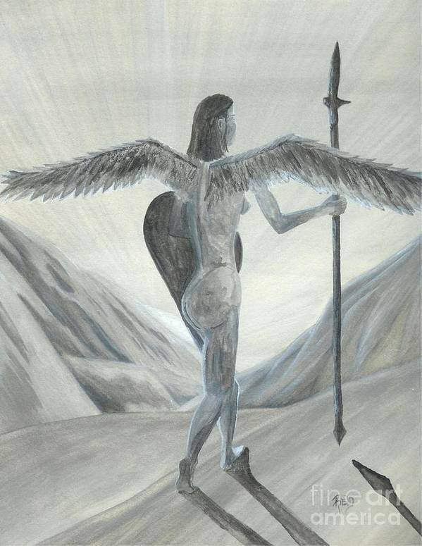 Angel Print featuring the painting Watching... Waiting... by Robert Meszaros