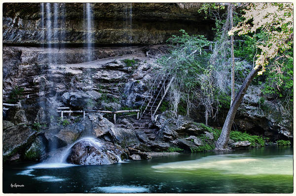Water Print featuring the photograph Water And Lights At Hamilton Pool by Lisa Spencer