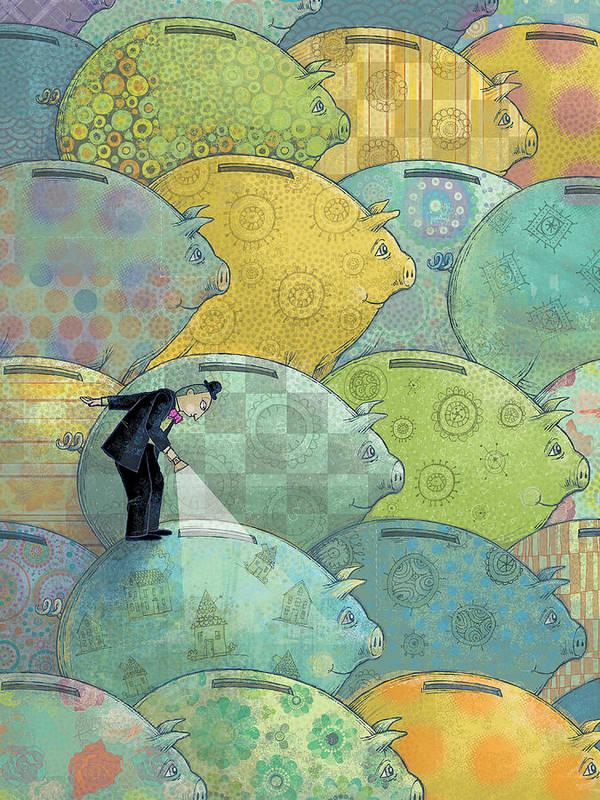 Piggy Bank Print featuring the digital art Where's The Money? by Dennis Wunsch