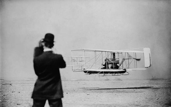 History Print featuring the photograph Wilbur Wright 1867-1912 Takes by Everett