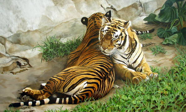 Tiger Print featuring the painting Wild Content by Sandra Chase