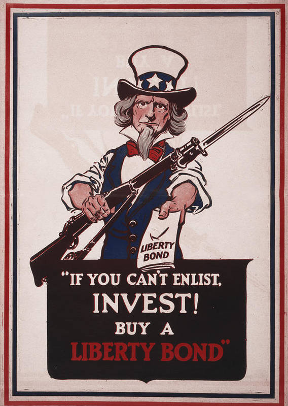 1910s Print featuring the photograph World War I, Poster Showing Uncle Sam by Everett
