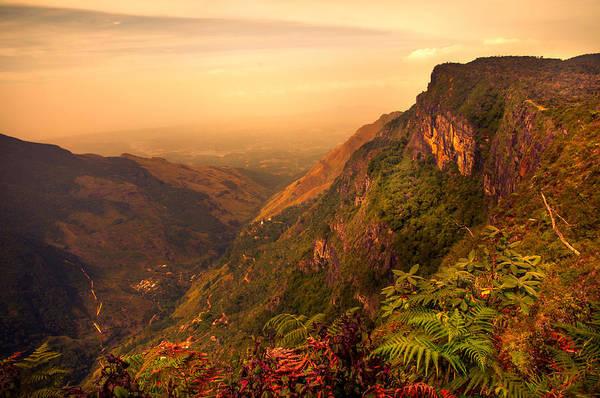 Nature Print featuring the photograph Worlds End. Horton Plains National Park. Sri Lanka by Jenny Rainbow