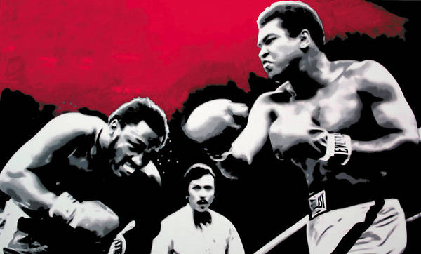 Muhammad Ali Print featuring the painting - Ali Vs Fraser - by Luis Ludzska