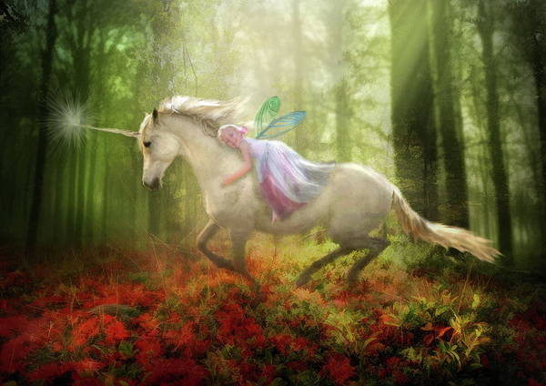 Unicorn Print featuring the digital art Autumns Flight by Trudi Simmonds