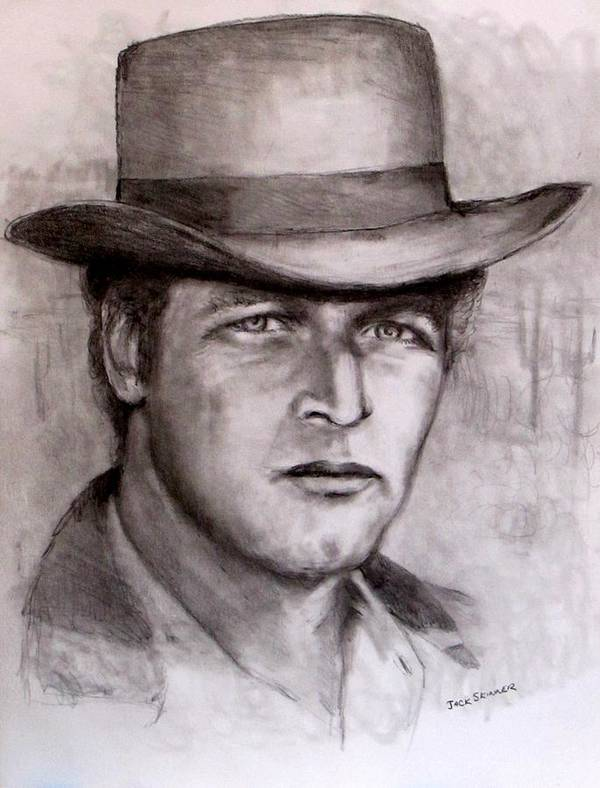 Butch Cassidy Print featuring the drawing Butch Cassidy by Jack Skinner