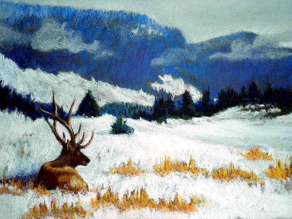 Mountain Snow Landscape Painting Print featuring the pastel High Country Elk by Curt Peifley