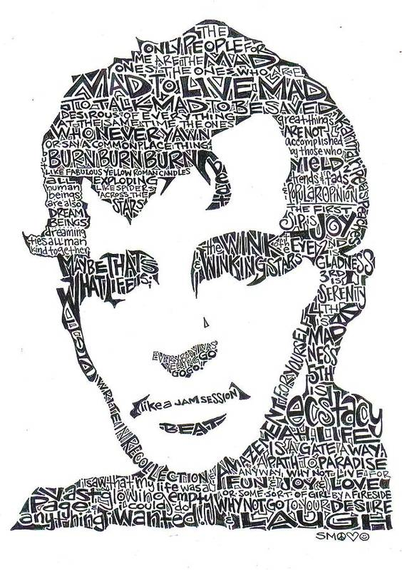 Kerouac Print featuring the drawing Jack Kerouac Black And White Word Portrait by Kato Smock