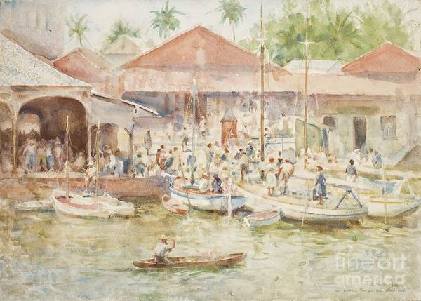 Central America; Port; Fish Market; Boat; Boats; Fishermen; Unloading; Catch; Fresh; Bustle; Busy; Commerce; South American; Central American; Newlyn School Print featuring the painting The Market Belize British Honduras by Henry Scott Tuke