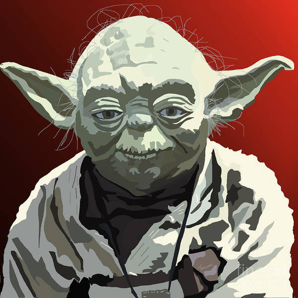 Yoda Print featuring the painting 068. Do Or Do Not. There Is No Try by Tam Hazlewood