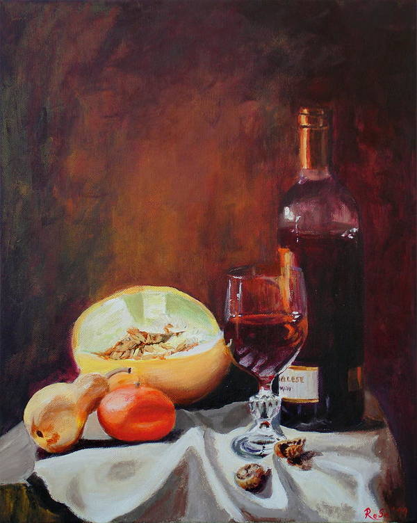 Still Life Print featuring the painting Still Life With Wine by Rose Sciberras