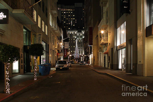 Cityscape Print featuring the photograph Christmas Eve 2009 On Maiden Lane In San Francisco by Wingsdomain Art and Photography