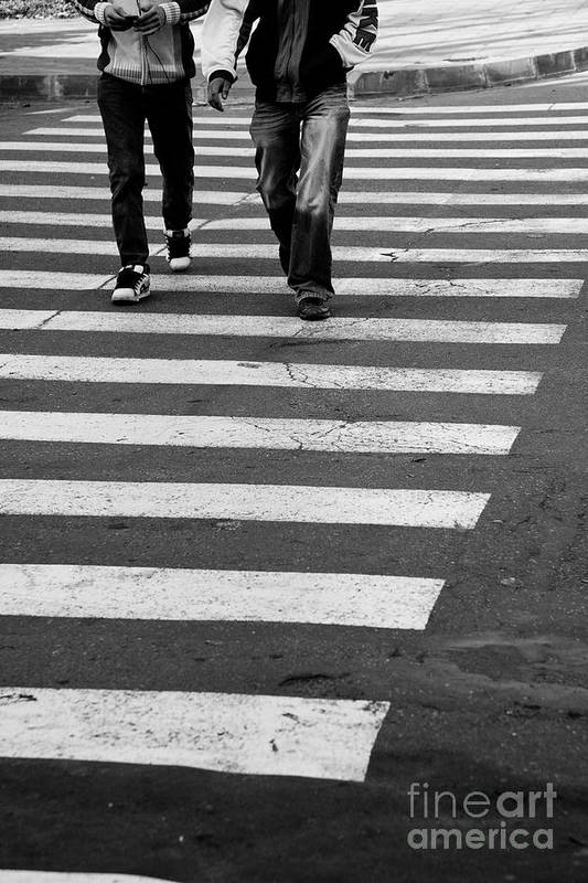 Crosswalk Print featuring the photograph Crossing by Gabriela Insuratelu