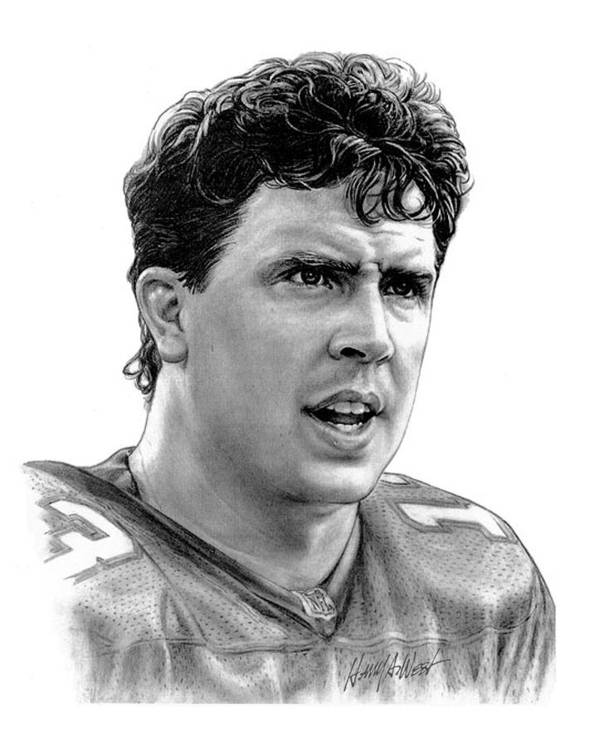 Dan Marino Print featuring the drawing Dan Marino by Harry West