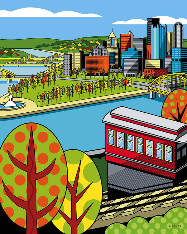 Pittsburgh Print featuring the digital art Fall From Above II by Ron Magnes