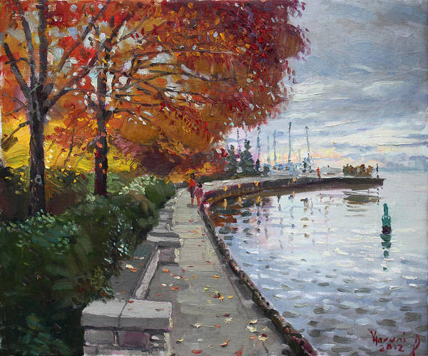 Port Credit Print featuring the painting Fall In Port Credit On by Ylli Haruni