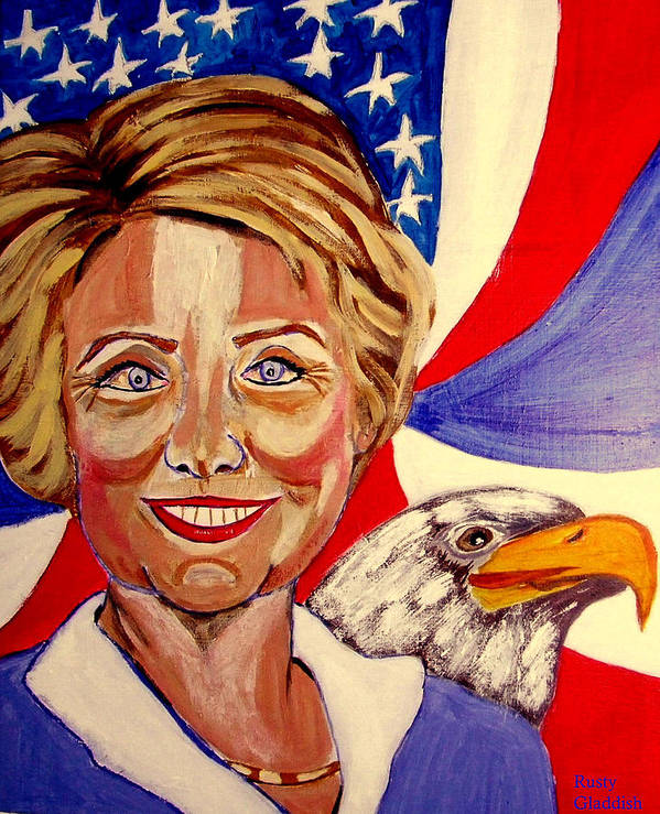 Hillimericks! Presidential Elections Print featuring the painting Hillary Clinton by Rusty Woodward Gladdish