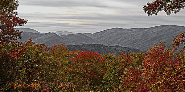Mountains Print featuring the digital art Infinite Smoky Mountains by DigiArt Diaries by Vicky B Fuller