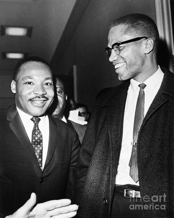 1964 Print featuring the photograph King And Malcolm X, 1964 by Granger