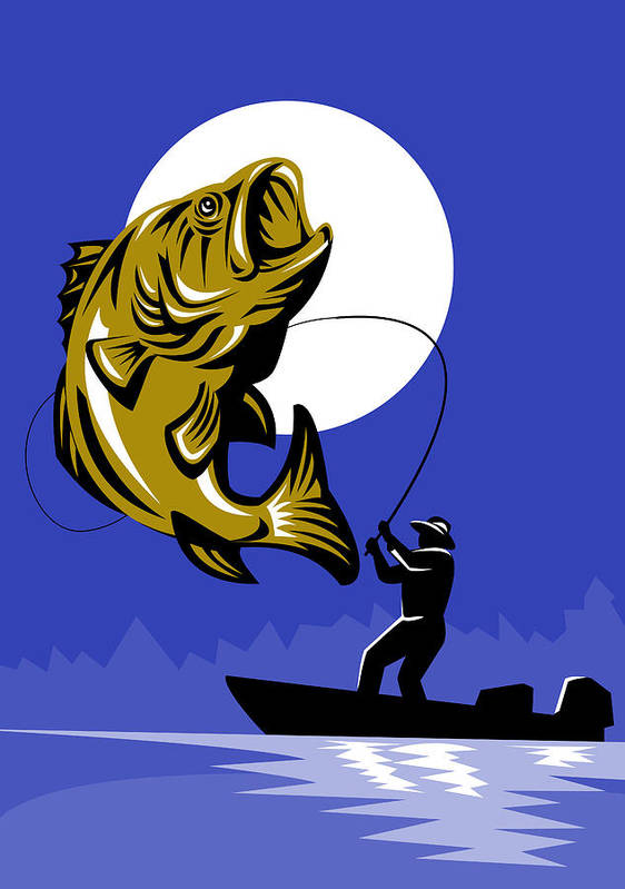 Largemouth Print featuring the digital art Largemouth Bass Fish And Fly Fisherman by Aloysius Patrimonio