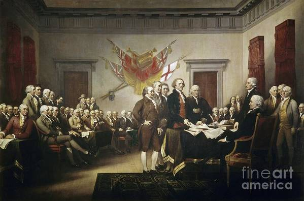 Signing Print featuring the painting Signing The Declaration Of Independence by John Trumbull