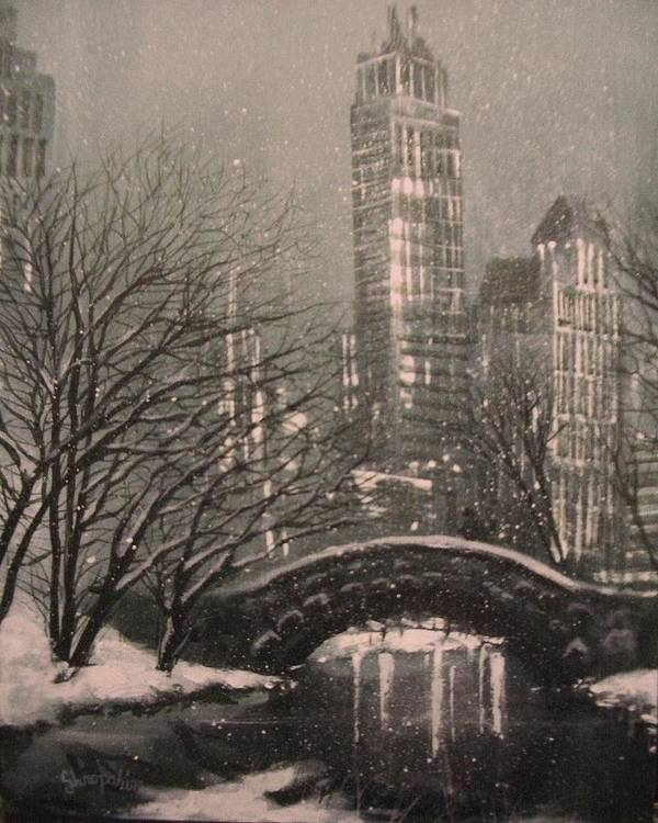 Snow Scene Print featuring the painting Snow In Central Park by Tom Shropshire