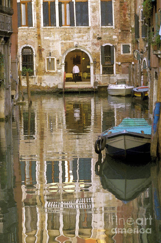 Boats Print featuring the photograph Venice Restaurant On A Canal by Gordon Wood