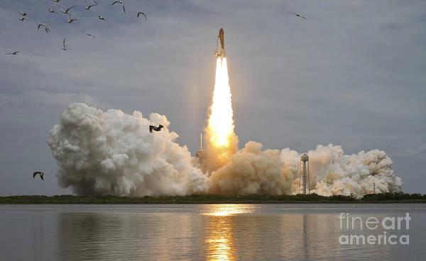 Atlantis Print featuring the photograph Space Shuttle Atlantis Lifts by Stocktrek Images