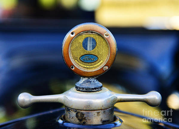 1919 Ford Model T Print featuring the photograph 1919 Ford Model T Hood Ornament Original by Paul Ward