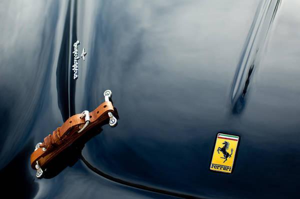 1950 Ferrari Print featuring the photograph 1950 Ferrari Hood Emblem by Jill Reger