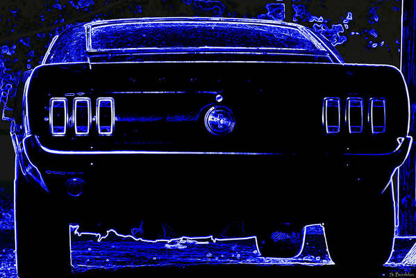 Mustang Print featuring the photograph 1969 Mustang In Neon 2 by Susan Bordelon