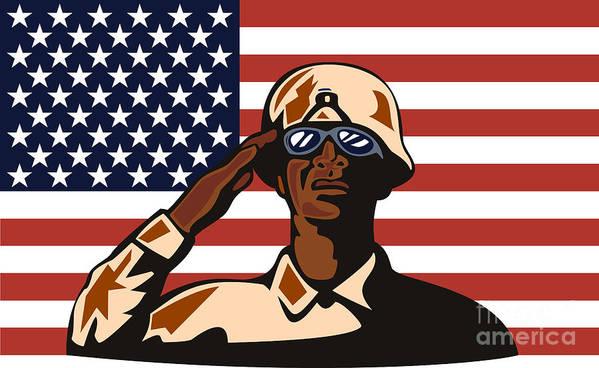 Illustration Print featuring the digital art American Soldier Saluting Flag by Aloysius Patrimonio