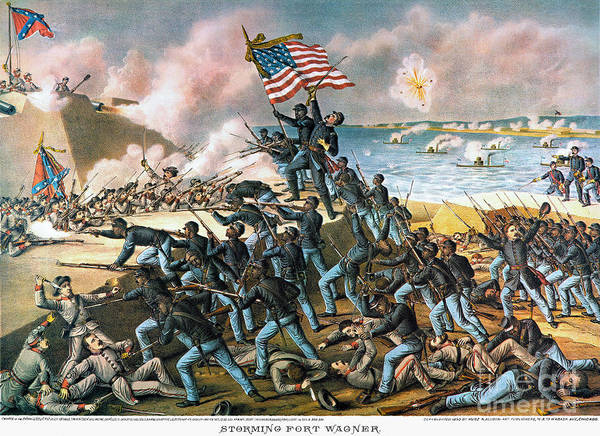 1863 Print featuring the photograph Battle Of Fort Wagner, 1863 by Granger